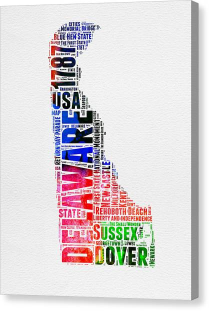 Delaware Canvas Print - Delaware Watercolor Word Cloud  by Naxart Studio