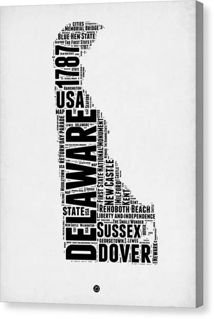 Delaware Canvas Print - Delaware Word Cloud 2 by Naxart Studio
