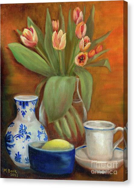 Delft Vase And Mini Tulips Canvas Print