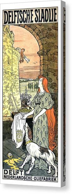 Nederland Canvas Print - Delftsche Slaolie - Salad Oil - Vintage Advertising Poster by Studio Grafiikka