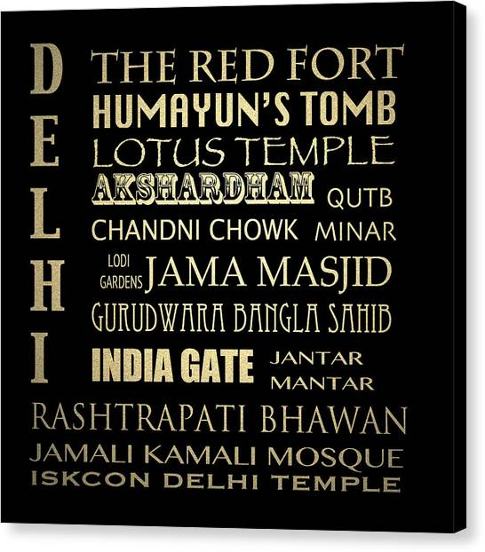 Famous Places Canvas Print - Delhi Famous Landmarks by Patricia Lintner