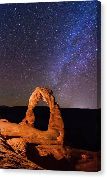 Sky Canvas Print - Delicate Arch And Milky Way by Matthew Crowley Photography