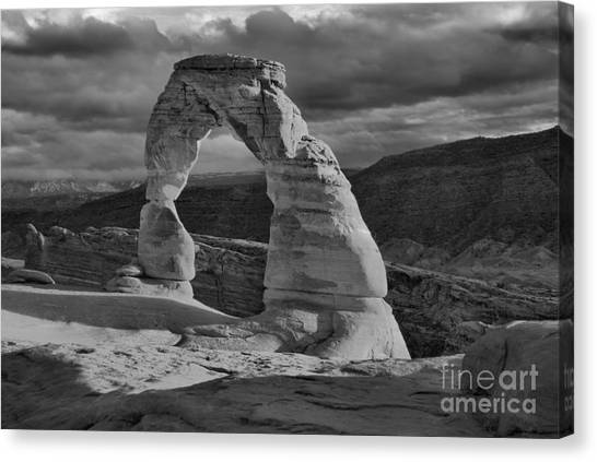 Delicate Arch Black And White Sunset Shadow Canvas Print