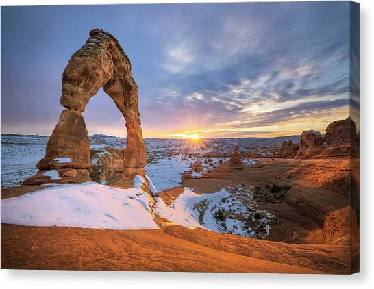 Delicate Arch Winter Canvas Print