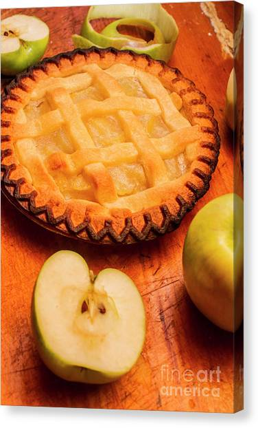 Bakery Canvas Print - Delicious Apple Pie With Fresh Apples On Table by Jorgo Photography - Wall Art Gallery