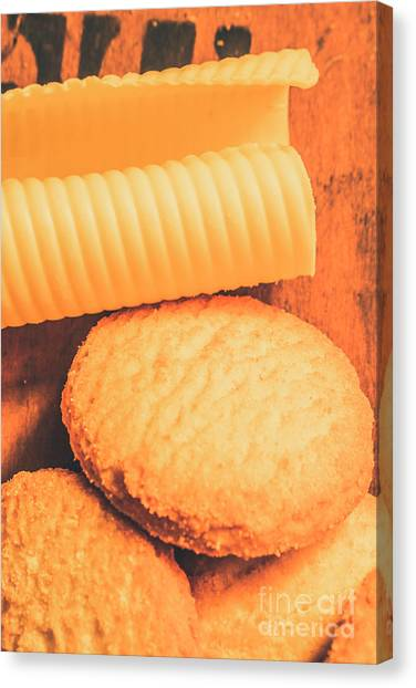 Desks Canvas Print - Delicious Cookies With Piece Of Butter by Jorgo Photography - Wall Art Gallery