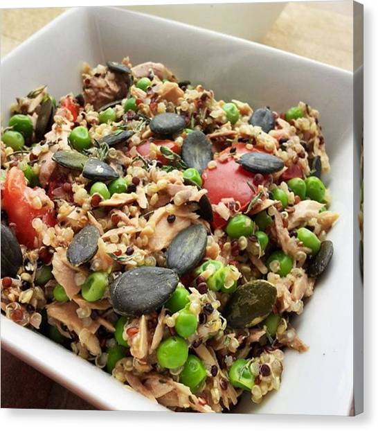 Tuna Canvas Print - Delicious Postworkout Lunch 👌 Quinoa by Simona Malkova