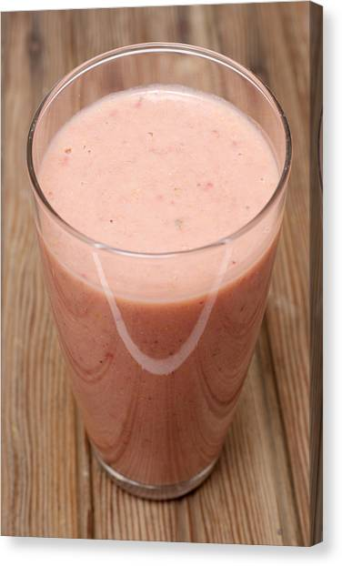 Smoothie Canvas Print - Delicious Strawberry Smoothie by Donald Erickson