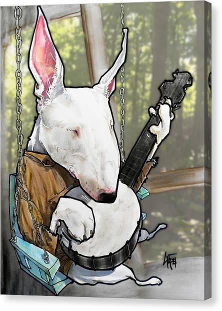 Deliverance Bull Terrier Caricature Art Print Canvas Print