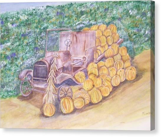 Delivering The Pumpkins Canvas Print