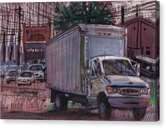 Ford Truck Canvas Print - Delivery Truck 2 by Donald Maier