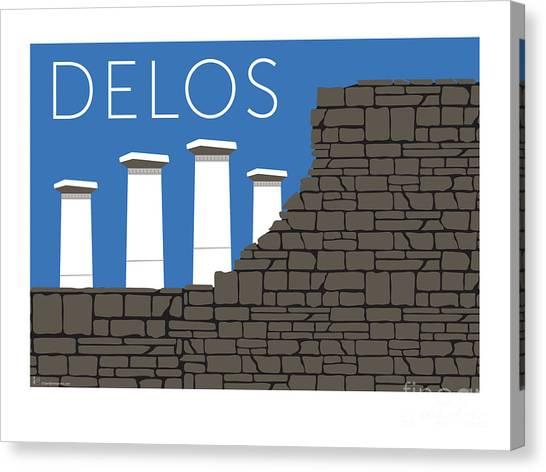 Canvas Print featuring the digital art Delos - Blue by Sam Brennan