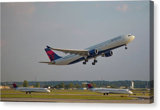 Delta Airlines Jet N827nw Airbus A330-300 Atlanta Airplane Art Canvas Print