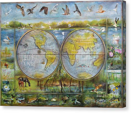 Danube Delta  Map.delta Map Painted On Leather. Original Map.one Of A Kind Map. Canvas Print
