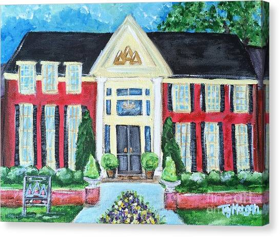 University Of Mississippi Ole Miss Canvas Print - Delta Delta Delta House At Ole Miss by Tay Morgan