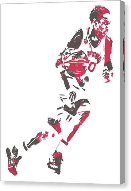 Toronto Raptors Canvas Print - Demar Derozan Toronto Raptors Pixel Art 5 by Joe Hamilton
