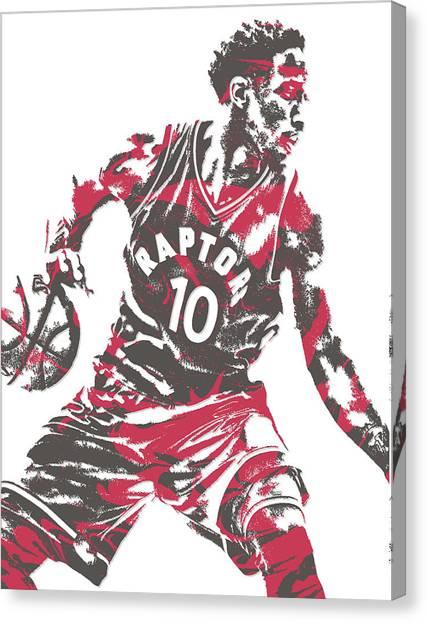 Toronto Raptors Canvas Print - Demar Derozan Toronto Raptors Pixel Art 6 by Joe Hamilton