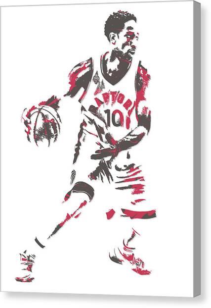 Toronto Raptors Canvas Print - Demar Derozan Toronto Raptors Pixel Art 7 by Joe Hamilton