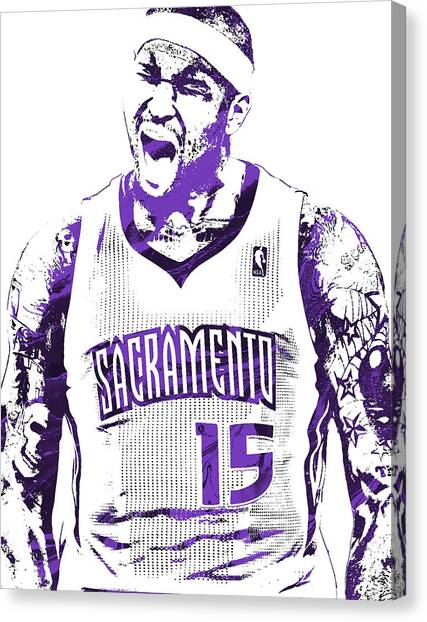 Sacramento Kings Canvas Print - Demarcus Cousins Sacramento Kings Pixel Art 2 by Joe Hamilton