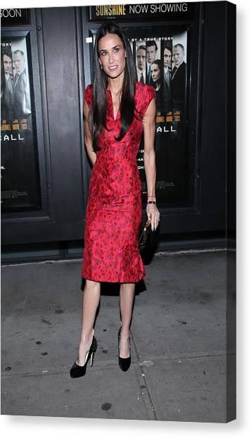Demi Moore  Wearing A Zac Posen Dress Canvas Print by Everett
