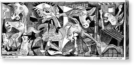Canvas Print featuring the drawing Democrat Guernica by Daryl Cagle