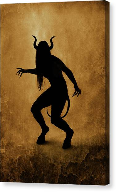 Satan Canvas Print - Demon Silhouette by Cambion Art