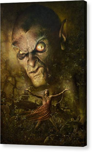 Canvas Print featuring the digital art Demonic Evocation by Uwe Jarling