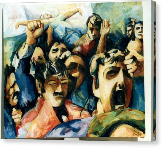 Demonstration - Art In Lebanon Canvas Print by Zaher Bizri