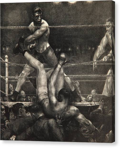 Unconscious Canvas Print - Dempsey Through The Ropes by George Wesley Bellows