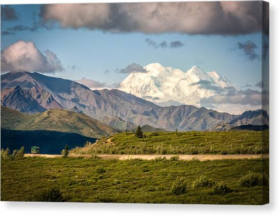Canvas Print featuring the photograph Denali Appears by Claudia Abbott
