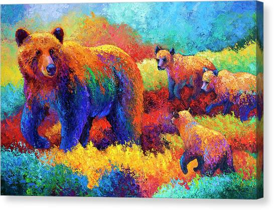 Bears Canvas Print - Denali Family by Marion Rose