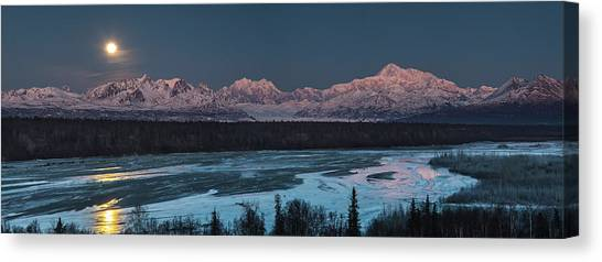 Denali Canvas Print - Denali Morning Blue by Ed Boudreau