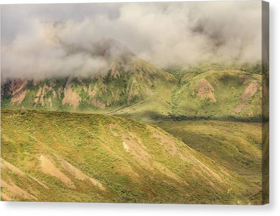 Denali National Park Mountain Under Clouds Canvas Print