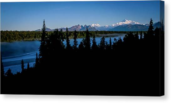 Denali Over The Susitna River Canvas Print