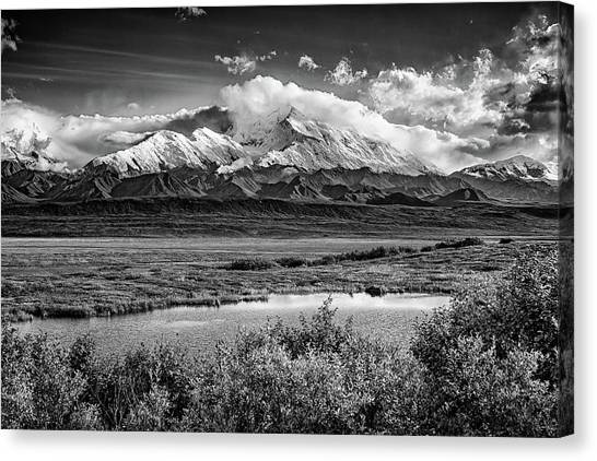 Denali Canvas Print - Denali, The High One In Black And White by Rick Berk