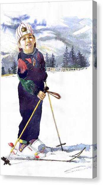 Ski Canvas Print - Denis 03 by Yuriy Shevchuk