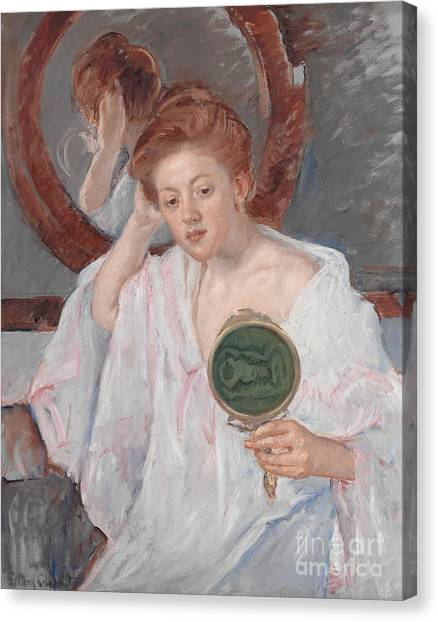 Nightgowns Canvas Print - Denise At Her Dressing Table by Mary Stevenson Cassatt