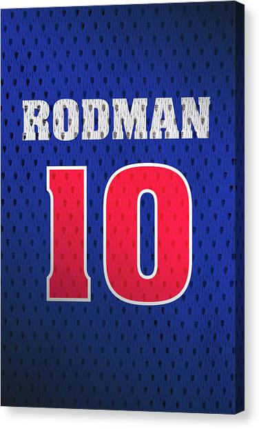Detroit Pistons Canvas Print - Dennis Rodman Detroit Pistons Number 10 Retro Vintage Jersey Closeup Graphic Design by Design Turnpike