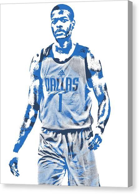 Dallas Mavericks Canvas Print - Dennis Smith Jr Dallas Mavericks Pixel Art 3 by Joe Hamilton