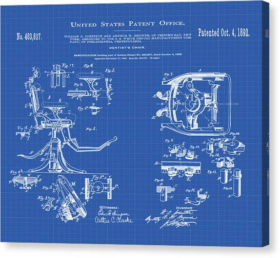 Dentist chair canvas prints page 3 of 4 fine art america dentist chair canvas print dentists chair patent 1892 in blueprint by bill cannon malvernweather Image collections