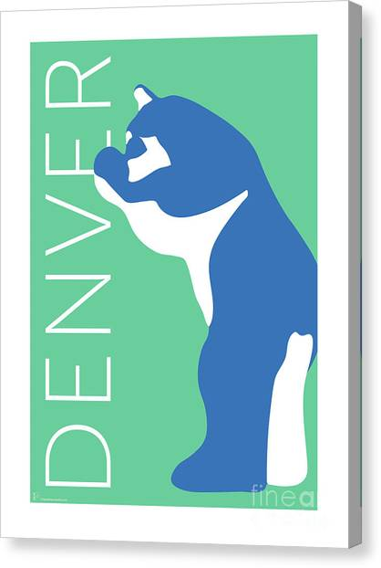 Denver Blue Bear/aqua Canvas Print