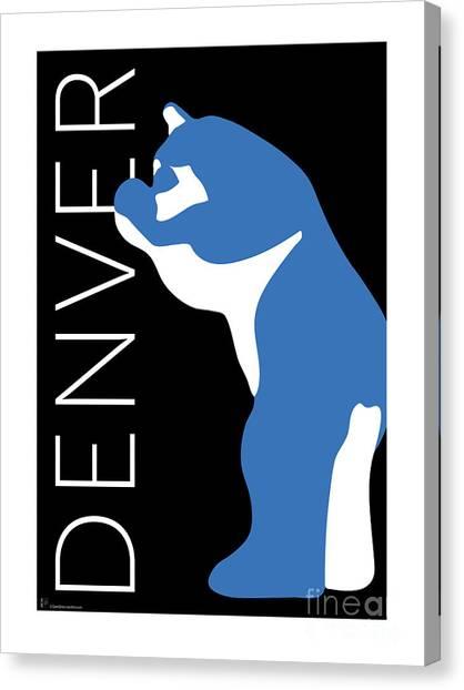 Denver Blue Bear/black Canvas Print