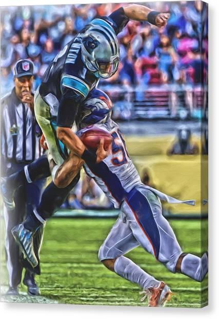 Denver Broncos Canvas Print - Denver Broncos Oil Art 1 by Joe Hamilton