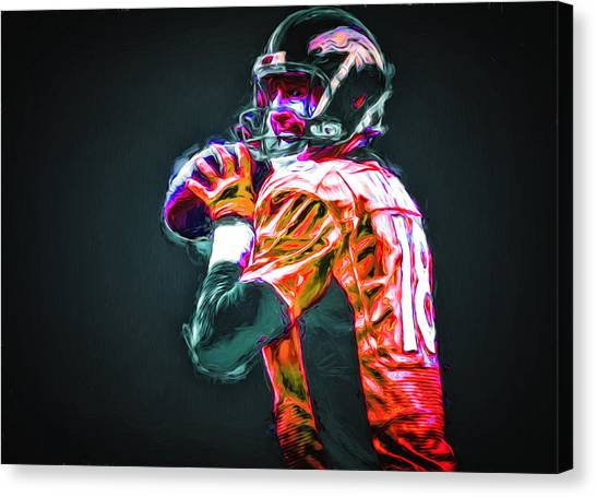 Strikeout Canvas Print - Denver Broncos Peyton Mannin Painted Digitally Mix 2 by David Haskett