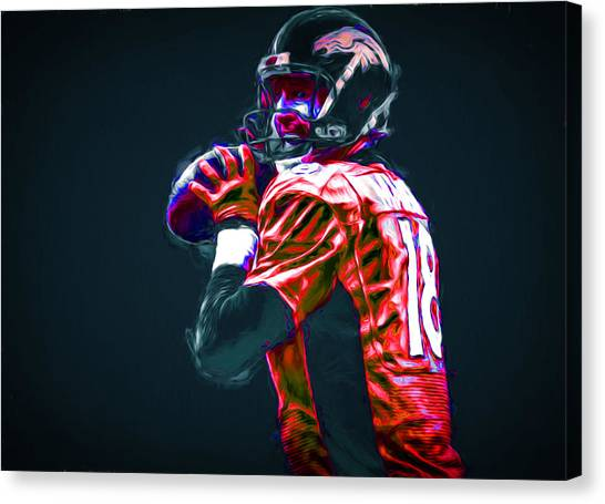 Strikeout Canvas Print - Denver Broncos Peyton Manning Digitally Painted by David Haskett