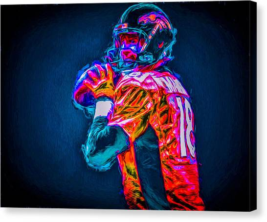 Strikeout Canvas Print - Denver Broncos Peyton Manning Digitally Painted Mix 3 by David Haskett