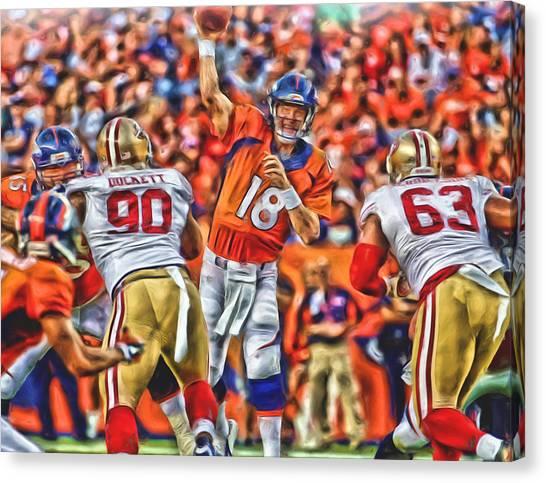 Peyton Manning Canvas Print - Denver Broncos Peyton Manning Oil Art by Joe Hamilton