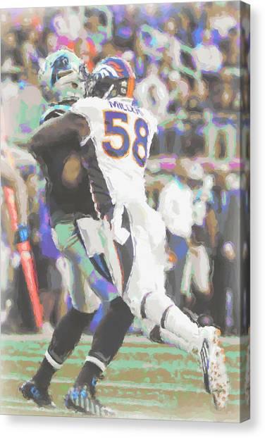 Denver Broncos Canvas Print - Denver Broncos Von Miller by Joe Hamilton