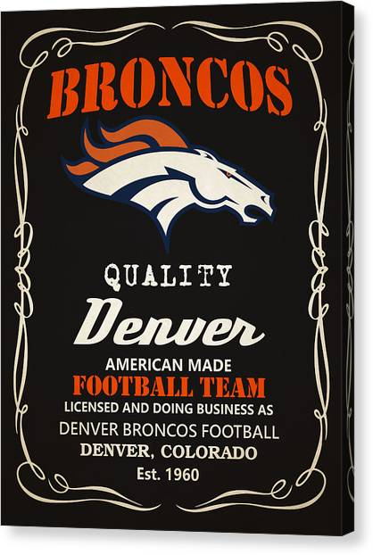 Denver Broncos Canvas Print - Denver Broncos Whiskey by Joe Hamilton