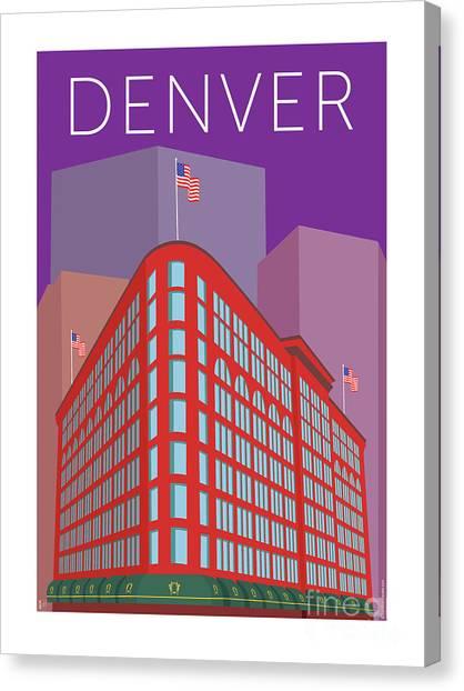 Denver Brown Palace/purple Canvas Print